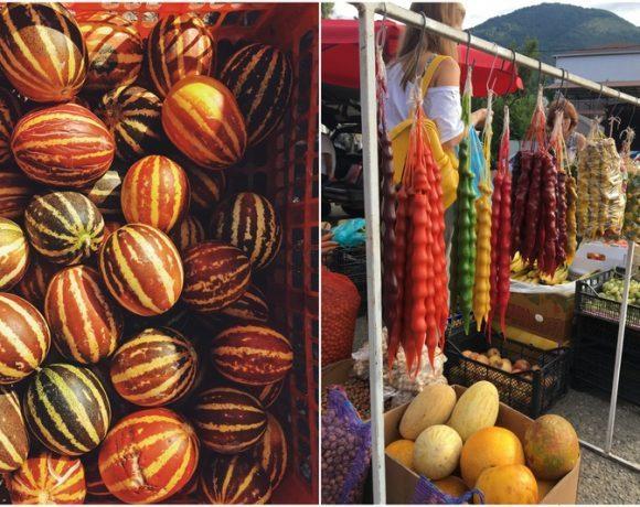Рынок в Сухуме. Пирожки с орехами, мандариновый сок и кофе на песке