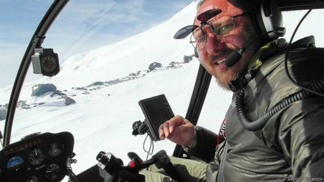 Сергей Ананов в вертолете