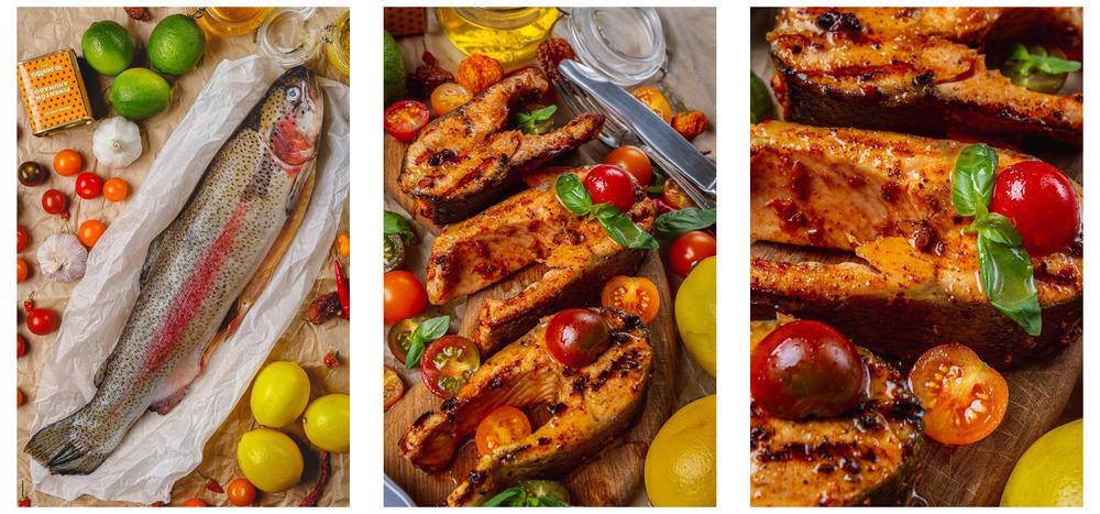 Форель смедово-горчичным иавокадо-базиликовым соусом
